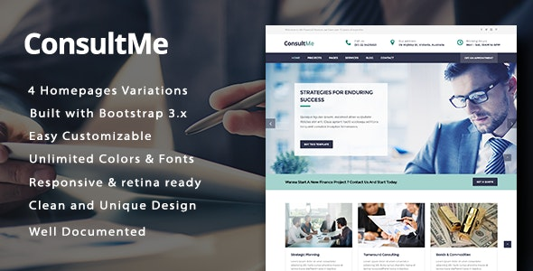 ConsultMe Responsive Business and Finance HTML5 Template - Business Corporate