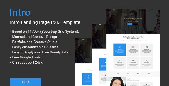 Intro Landing Page PSD Template - Marketing Corporate