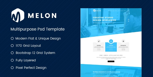 Melon - One Page Business & Corporate Website PSD Template - Corporate Photoshop