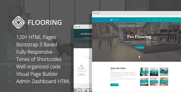 Flooring - Floor Repair & Refinish HTML Template with Visual Builder and Dashboard