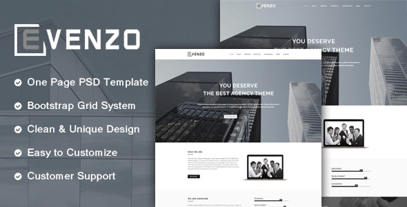Evenzo - One Page Corporate PSD Template. - Corporate Photoshop