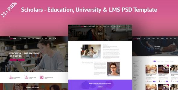 Scholars - Education, University & LMS PSD Template - Business Corporate