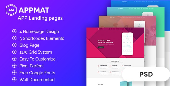 APPMAT - App Landing Page PSD Template - Business Corporate