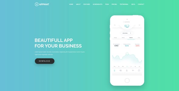APPMAT - App Landing Page PSD Template
