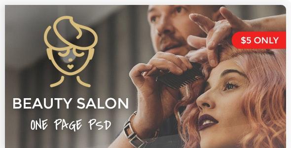 Beauty Salon - One Page PSD Template - Health & Beauty Retail