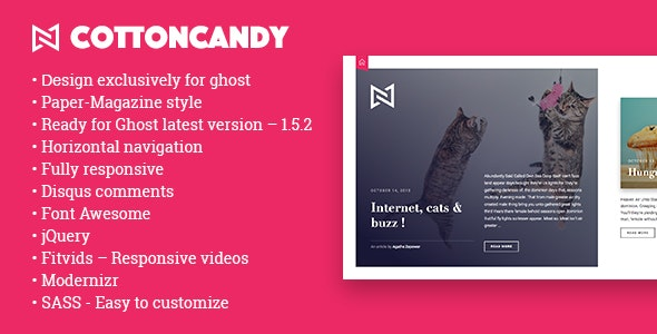 CottonCandy - Ghost Themes Blogging
