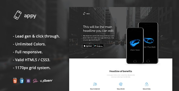 Appy - App Landing Page HTML Template - Apps Technology
