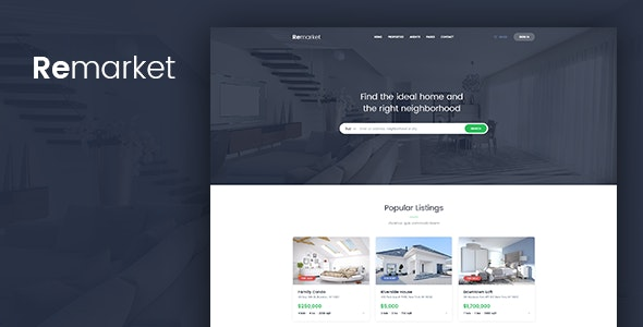 Remarket - Real Estate PSD Template - Photoshop UI Templates