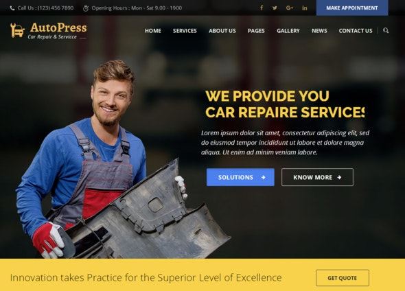 AutoPress - Car Repair & Services WordPress Theme - Business Corporate
