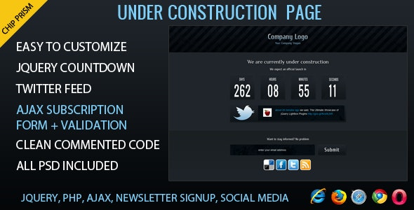 Chip Prism - Under Construction Template - Under Construction Specialty Pages