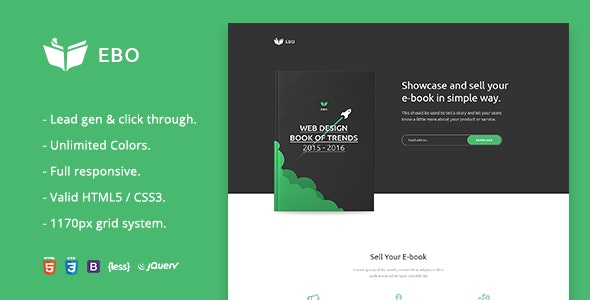 Ebo - Ebook Landing Page  HTML Template - Business Corporate