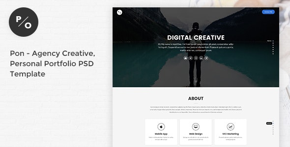 Pon - Responsive Agency Creative, Personal Portfolio PSD Template - Portfolio Creative