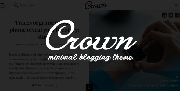 Crown - Minimal Blogging Theme - Blog / Magazine WordPress