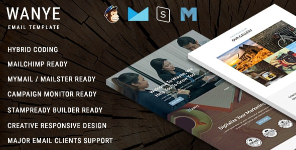 Wanye - Multipurpose Responsive Email Template With Online StampReady Builder Access - Newsletters Email Templates