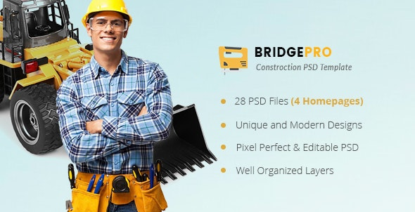 BridgePro | Construction & Building PSD Template - Business Corporate