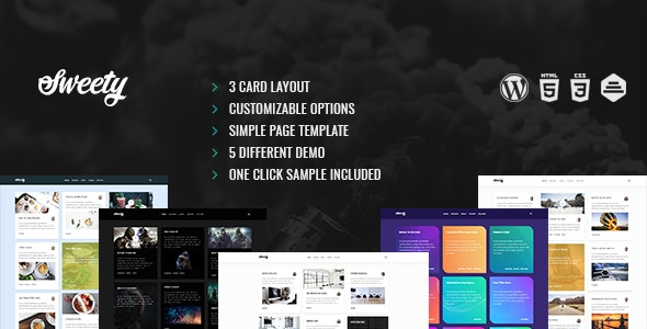 Sweety | Card  Based, Clean WordPress Theme - Personal Blog / Magazine