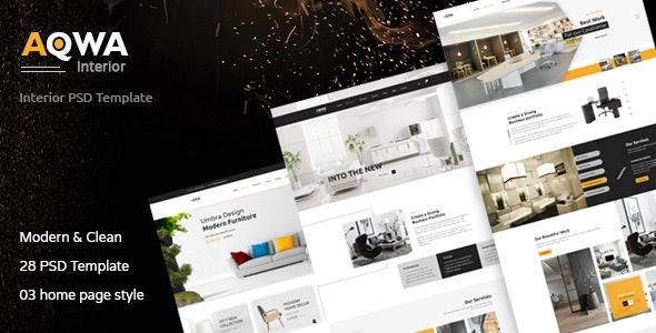 Aqwa - Interior and Furniture PSD Template - Creative Photoshop