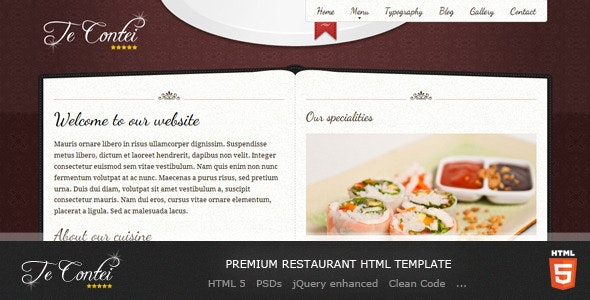 Te Contei Restaurant Template - Restaurants & Cafes Entertainment