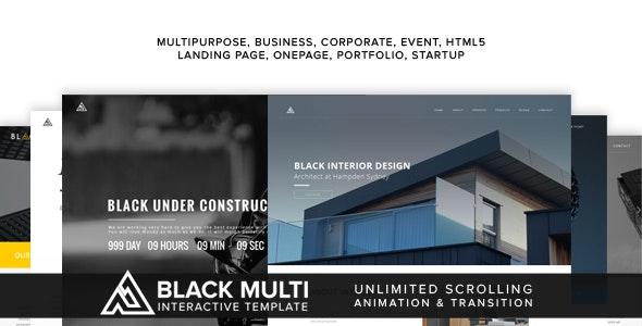 Black Multi Interactive Template - Creative Site Templates