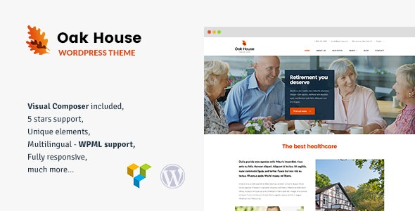Oak House - Senior Care, Retirement, Rehabilitation WordPress Theme - Health & Beauty Retail