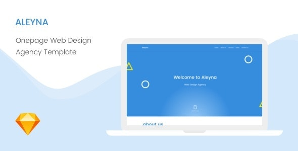 Aleyna | Onepage Creative, Web Design Agency Sketch template - Business Corporate