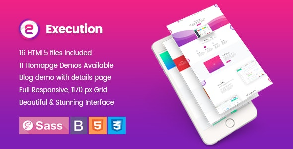 Execution App Landing & Product Showcase HTML5 Template - Technology Site Templates