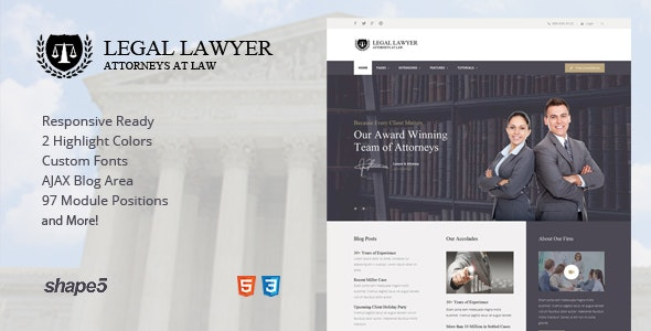 Legal Lawyer - Responsive Template - Business Corporate