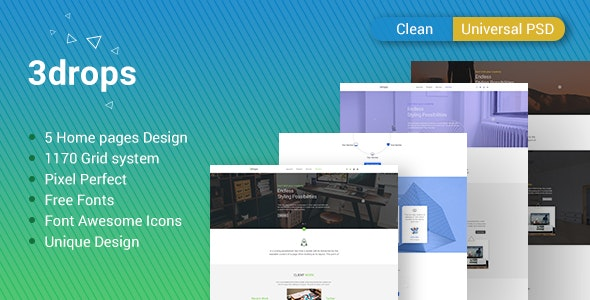 3drops - Clean & Universal PSD Template - Corporate Photoshop