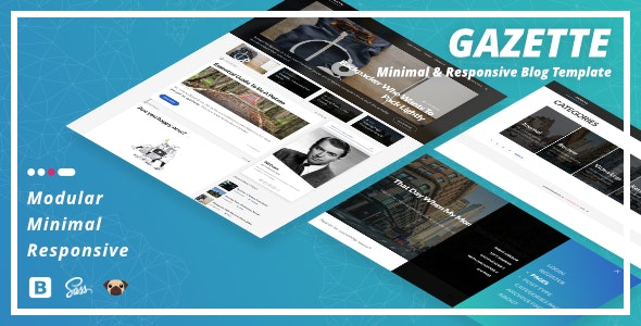 Gazette — Minimal & Responsive Blog Template - Personal Site Templates