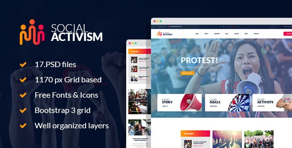 Social Activism - Non-Government Organization PSD Template - Activism Nonprofit