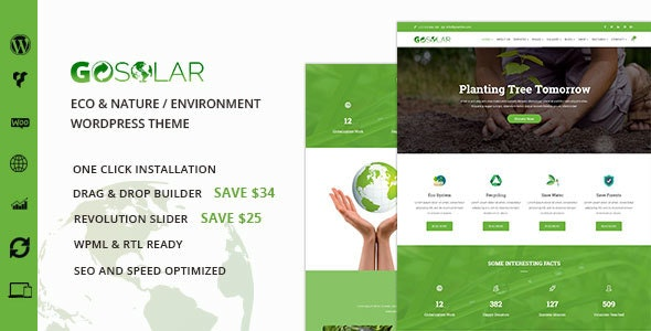 GoSolar - Eco Environmental  & Nature WordPress Theme - Business Corporate