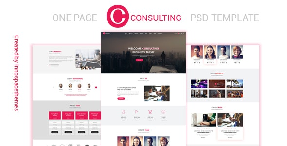 Consulting - One Page PSD Template - Photoshop UI Templates
