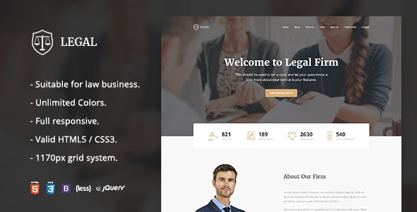 Legal - Law Firm OnePage HTML Template - Business Corporate