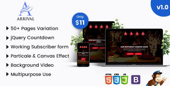 Arrival - Multipurpose Coming Soon HTML Template