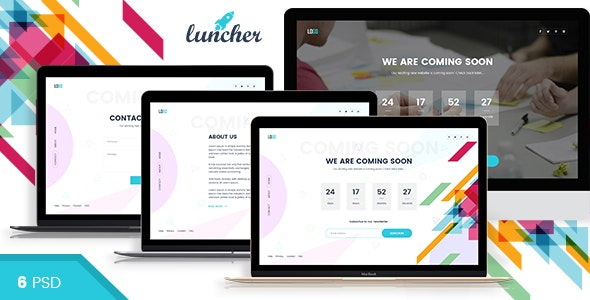 Launcher - Coming Soon PSD Template - Corporate Photoshop