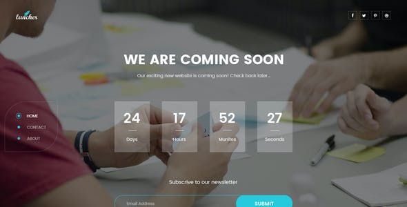 Launcher - Coming Soon PSD Template