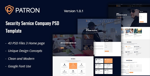 Patron - Security Service Company PSD Template - Business Corporate