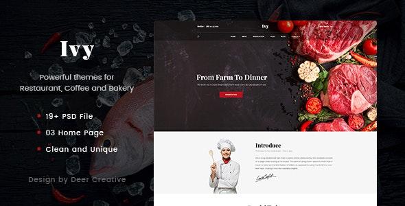 Ivy - Multipurpose Restaurant & Cafe PSD Template - Restaurants & Cafes Entertainment