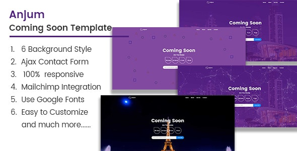 Anjum  Coming Soon Template - Under Construction Specialty Pages