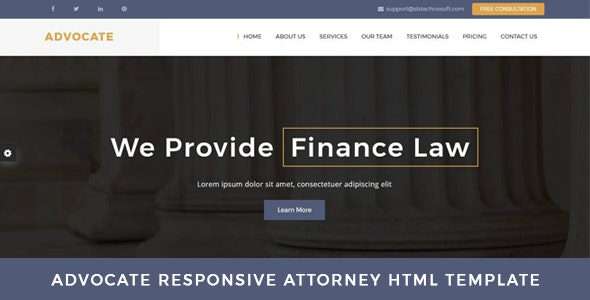 Advocate - Law Firm OnePage HTML Template - Business Corporate