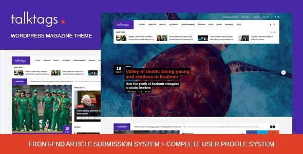Talktags - WordPress Magazine Theme + Front-end Article Submission - News / Editorial Blog / Magazine