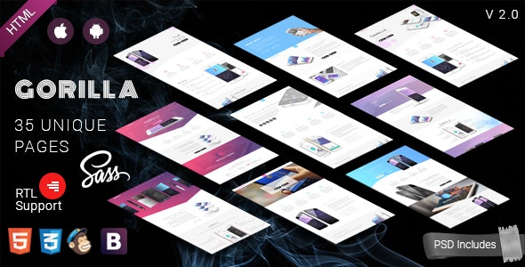 Gorilla    Responsive App Landing Page - Technology Site Templates