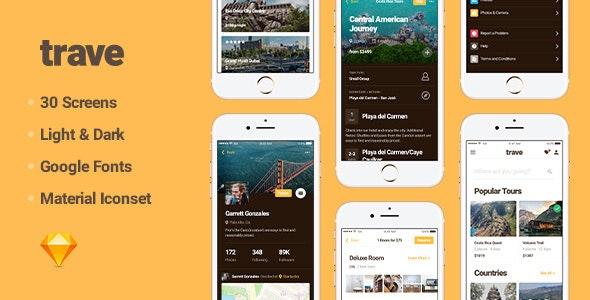 Trave UI Kit - Sketch UI Templates