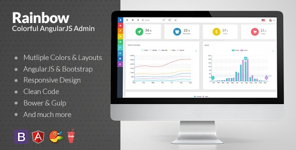 Rainbow - Colorful Bootstrap Admin with AngularJS - Admin Templates Site Templates