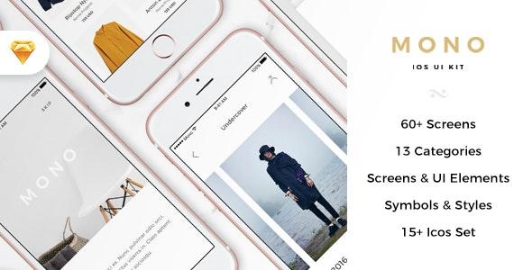 Mono iOS E-commerce UI Kit - Retail Sketch