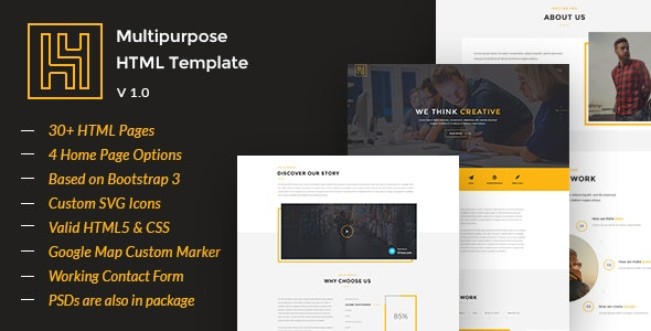 H4 - Modern HTML Template by Iconic-Graphics | ThemeForest