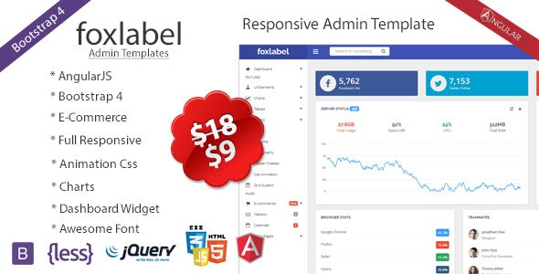 Foxlabel - AngularJS + Bootstrap 4 Admin Template by