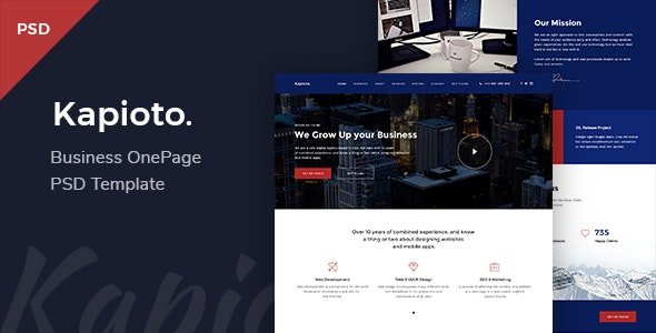 Kapioto - Business & Corporate OnePage PSD Template - Corporate Photoshop