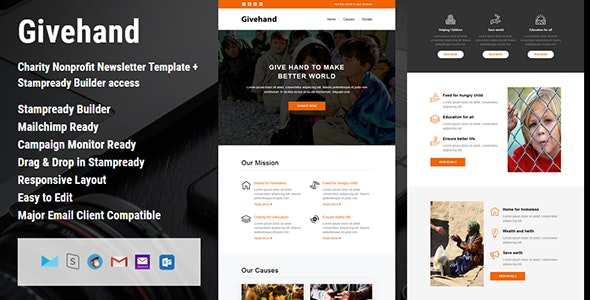 Givehand - Charity Nonprofit Newsletter Template + Stampready Builder access - Email Templates Marketing