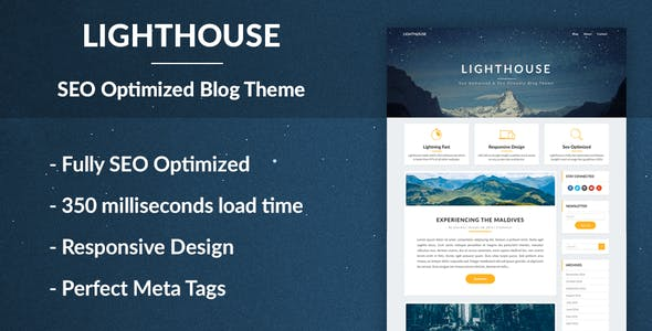 lighthouse seo uyumlu blog wordpress teması